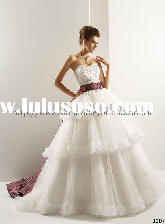 J007 Beading Bodice Big Ribbons Designers Wedding Dress,Organza Ball Gown