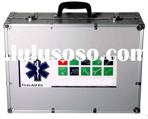Portable emergency first aid kit with aluminum case