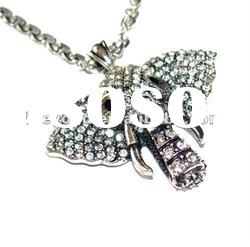 Zinal Alloy Antique Silver Plated Clear Diamond Pave Elephant Pendant necklace