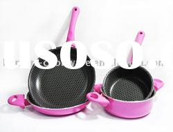 new non-stick aluminum cookware set with bee net inter include soup pot and saucepan