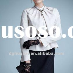 office shirts for women white long sleeve women formal shirts designs ladies satin shirt HK-031906