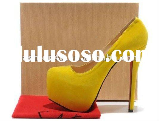 2012 Women's Suede High Heels With Platform Pumps Shoes16cm Heels Bright Yellow