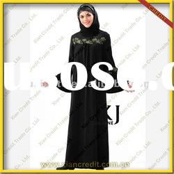 2012 finest quality crepe long black kurta embroidery designs for women KJH-102