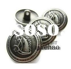 4030# DIY ACC,horse pattern metal button,old silver color,vintage metal button,