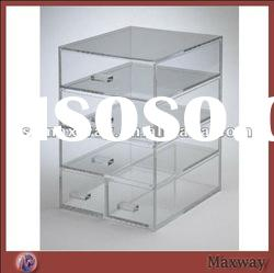 4 tier counter acrylic cosmetic display organizer with 5 drawers