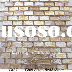 8mm thickness rectangle pink fusing glass mosaic tile YX37 for decorative subway glass tile