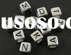 Acrylic Beads, Mixed Alphabets, Cube, about 6mm in diameter, hole: 3mm; 2600pcs/500g (PB43C9308)