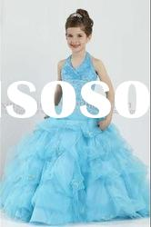 Best Selling Wholesale Beauty Queen Kids Flower Girl Dress Blue
