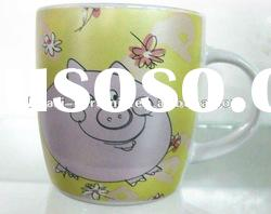 Cartoon pig ceramic mug drum-shaped