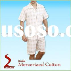 Double Mercerized cotton yarn dyded woven mens Pajamas