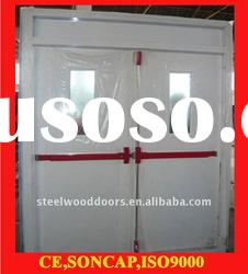 Double steel door with top glass