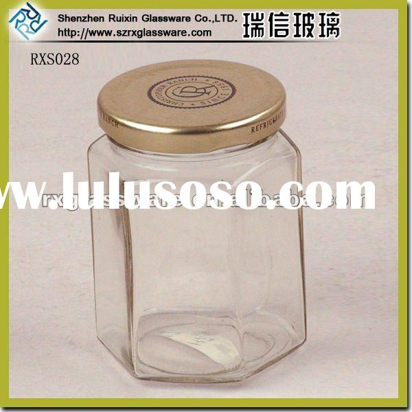 Elegant Promotional Hot Hexagon Glass Jar with Metal Lid