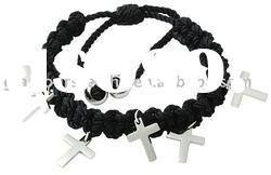 Fashion Black cotton string Shambala bracelet with cross stainless steel jewelry