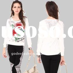 Fashion design embroidered ladies knitted long T-shirt