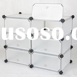 Frosted plastic pp panel 6 layer 6 cube with door folding shoe rack