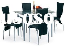 Glass Metal Dining Table With PU Chair