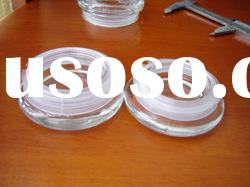 Glass lid ,Glass cover with plastic seal ring and silicone ring