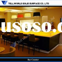 LED Translucent Artificial marble Wooden style Commerical Bar counter