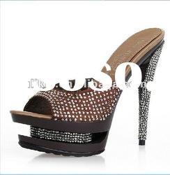 Latest fashion Crystal high heel sandals double platform heels
