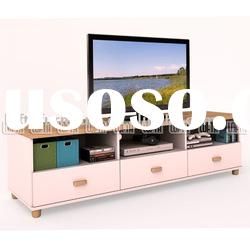 Living room furniture IKEA style new designs LCD TV stand with 3 Drawer storage