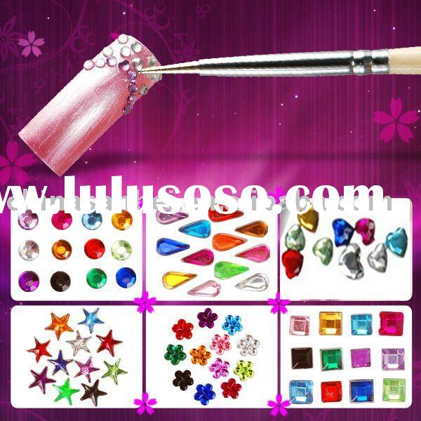 Nail Art Rhinestone Glitter nail tip wheel box mix design