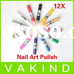 New 12 Colors Nail Art Design Tips Painting Polish 3D Paint Pen UV Gel Acrylic Nail Polish