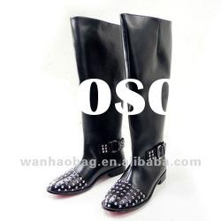 New arrival knee-high flat leather boot ,CL20