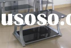 Silver grey metal and glass coffee table
