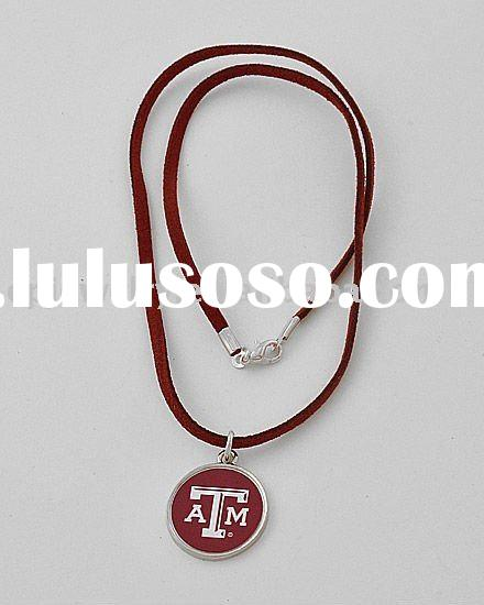 Silvertone / Brown Cord / Texas A&m University Print / Round Pendant Necklace