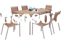 Stainless steel frame teakwood top dining table and chair