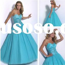 Sweet yet Cool Turquoise Strapless Taffeta Custom Tulle Ball Gown Stylish Prom Dresses