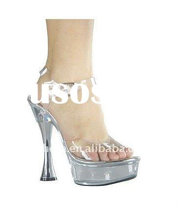 Transparent PVC with silver goblet high heel shoes/women fashion sandals