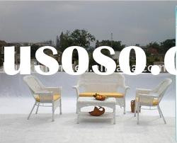 White Outdoor Rattan Wicker Resin Chairs and Table -Complete Setting