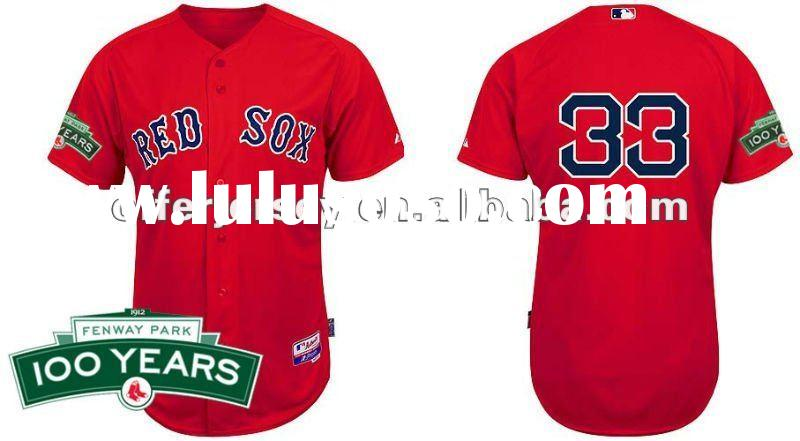 Wholesale 2012 Boston Red Sox Jersey 100 Years Patch #33 Varitek Red Baseball Jerseys Free Shipping