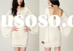 Wholesale Clothing, Long Sleeve Dress, half white dress