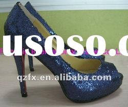 Wholesale royal blue glitter high heel wedding party shoes