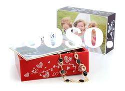 acrylic music jewelry box with photo frame-Red