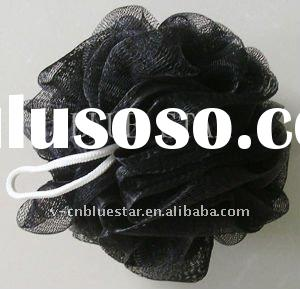 black shower puff, nylon bath puff, body puff