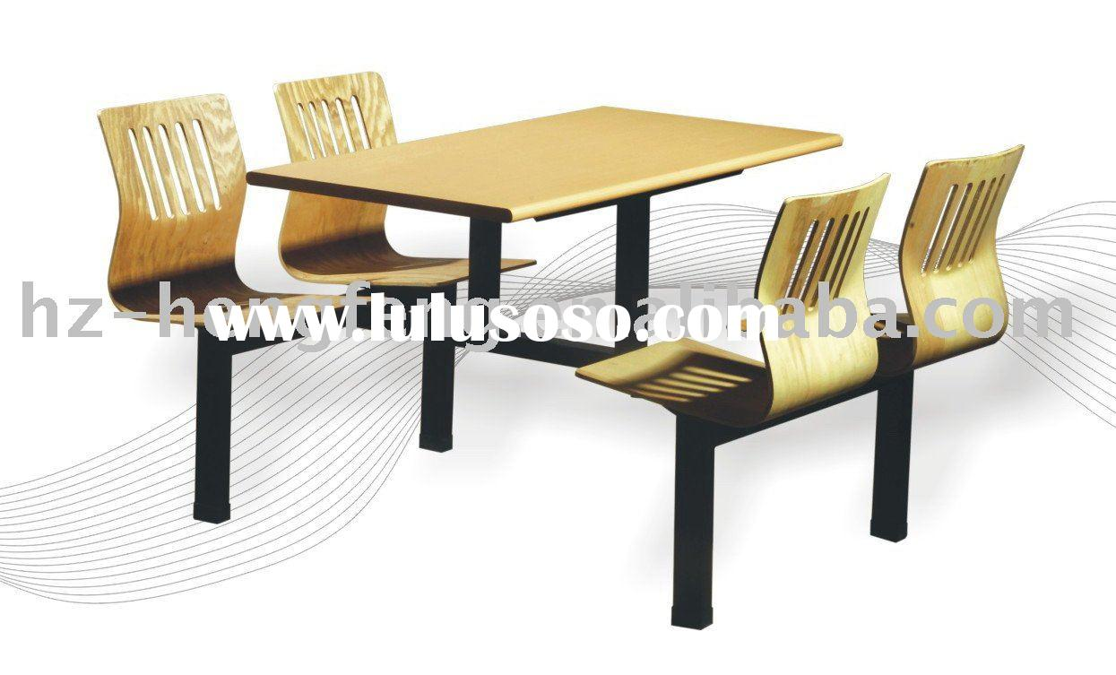 dining hall modern metal wood 4 seat dining table set
