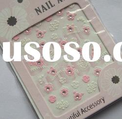 fashion design pink rose with jewelry 3D nail art sticker, nail decoration