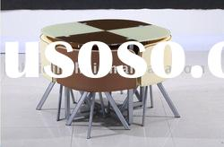 glass metal dining table and chair
