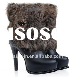gray fur half boots for woman with high heel shoes women