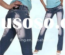 ladies embrodery fashion boot cut jeans