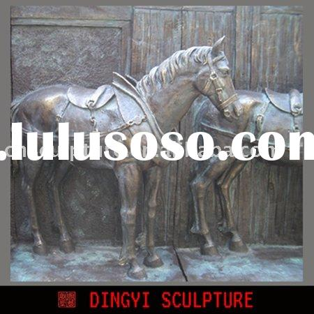 outdoor horse relief sculpture
