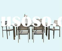 plastic wood top aluminum frame dining table and chair outdoor furniture