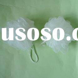 promotional natural PE shower puff mesh sponge