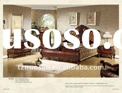 queen hand carved solid wood platform bed NS-9812A