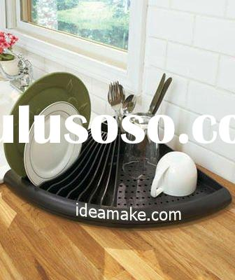 space saving corner Dish Drying Rack with drain board and cutlery holder