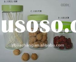 transparent food grade glass jar with plastic lid CS201