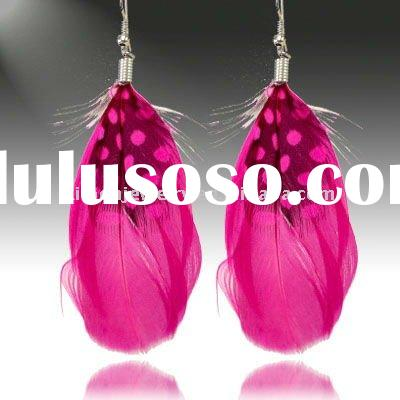 wholesale fashion hoop cheap feather earrings colorful feather earring alloy earring